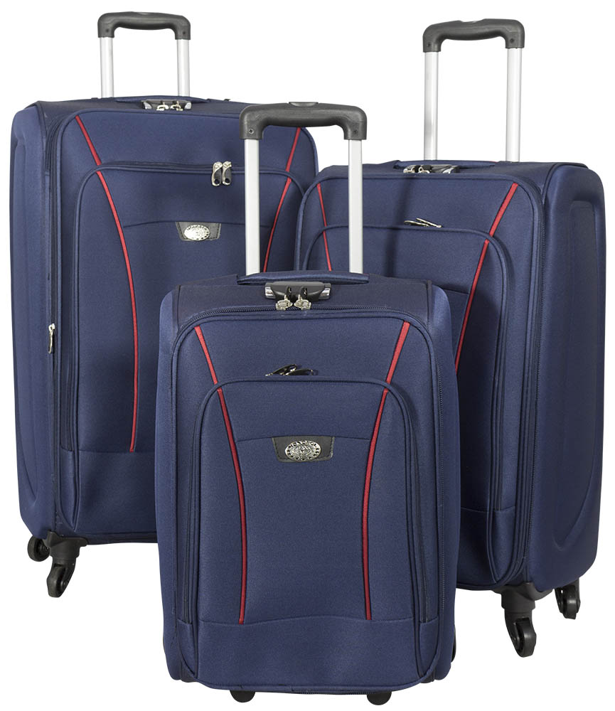 Nylon 3-piece luggage set blue Copenhagen