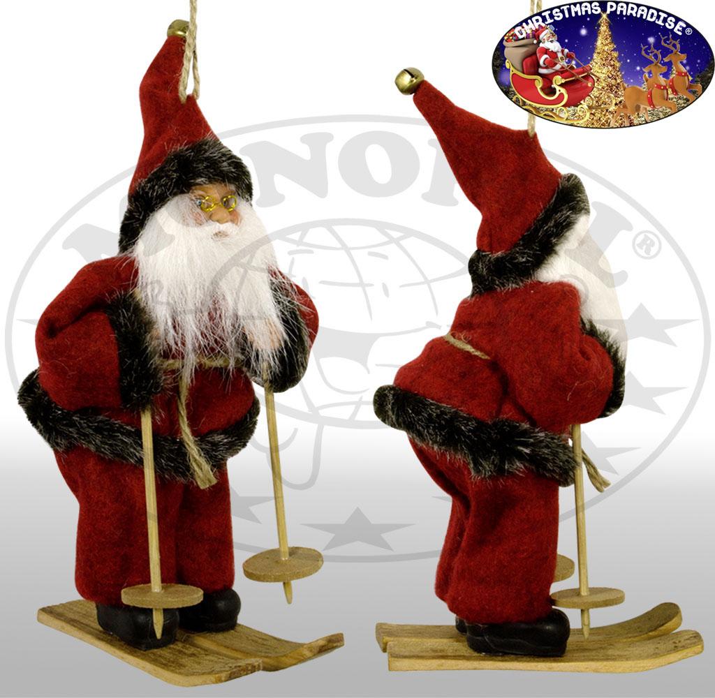 Weihnachtsmann 18cm auf Ski / Weihnachtsdeko