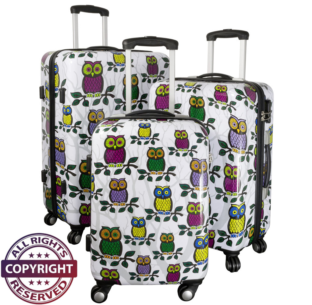 Polycarbonate<br>luggage set 3pc Owl